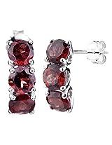 RiVi Sterling Silver 3 Stone Garnet Drop Earrings for women (2.50 CT)