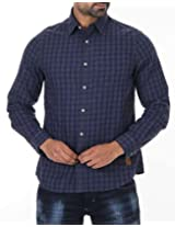 London Fog Men's Casual Shirt (8907174046938_Navy_Large)