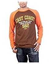 UK Tribes Men's Round Neck Cotton T-Shirt(UKT037_BROWN_40)