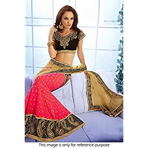 Bollywood Replica Model Georgette and Net Lehenga In Pink and Beige Colour NC739