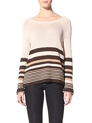 Suss Knitwear Women's Ana Striped Boxy Boatneck (Cream)