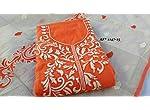 Orange Chanderi Silk Dress Material With Dupatta