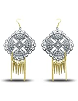 AD Fashion Silver color traditional Circle Earrings aaz0000172