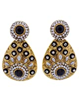 Hyderabadi Abhushan earrings gold with black color stones