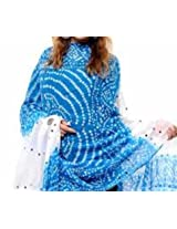 Famacart Women's Cotton Bandhej Blue Dupatta Party wear wrap