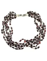 925-Silver Garnet Chokar Necklace For Women 11612
