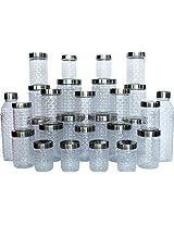 Princeware Iris Plastic Pet Jar Combo Set with Steel Lid, 28-Pieces, Clear