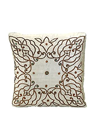 John Richards Collection Taupe Silk Embroidered Pillow
