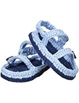 Jefferies Socks Baby-Boys Sandal Crochet Bootie, Light Blue, Newborn
