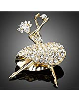 Dazzling Flawless Dancing Girl Pin Brooch With Real Gold Embellished