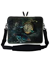 "Meffort Inc Meffort (Tm) 17 Inch Clock Butterfly Design Laptop Sleeve Bag Carrying Case With Hidden Handle & Adjustable Shoulder Strap For 16"" 17"" 17.3"" Apple Macbook, Acer, Asus, Dell, Hp, Sony, Toshiba, And More"
