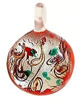 DollsofIndia Round Pendant - Glass - Saffron