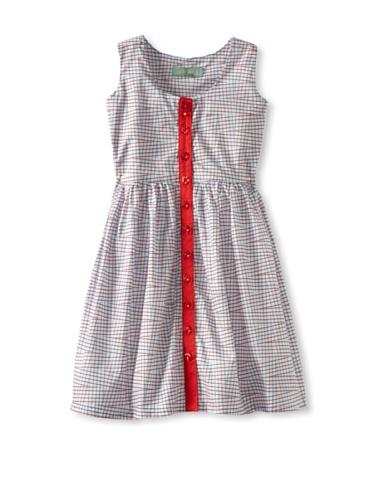 Zolima Girl's Button-Up Dress (Indigo Red Checks)