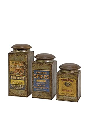 Set of 3 Addie Vintage Label Wood & Metal Canisters
