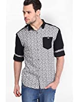 Printed White Casual Shirt Locomotive