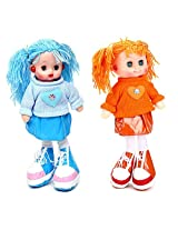 Tickles Blue,Orange Smiling Face Doll Stuffed Soft Plush Toy Love Girl 35 cm