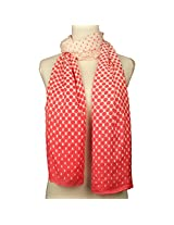 Vozaf Women's Viscose Stoles & Scarves - Pink And White With Polka Dots