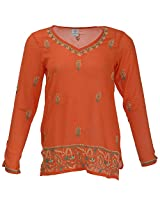 Go Lucknow Women's Georgette Regular Fit Kurti (GL-AM-184, Orange, Medium)