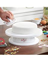 Bulfyss Combo Pack - Cake Turntable Revolving Cake Decorating Stand Cake Stand Sugarcraft Turntable 28cm and Easy Glide Fondant Smoother