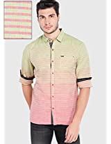 Striped Olive Casual Shirt Locomotive