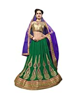Simplistic Green And Golden semi stitched lehenga with 60 Gm Georgette and Gota fabric