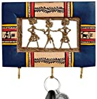 Aapno Rajasthan Wood and Metal Dhokra Work Small Key Holder (17.78 cm x 12.7 cm, Blue)