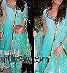 Aqua Blue Anarkali Suit Worn By Preity Zinta (Bollywood Replica)