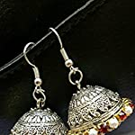 Silver zumka with red stone & pearl