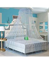 Elegant Lace Hanging Bedding Mosquito Net Dome Princess Bed Canopy Netting(Blue)
