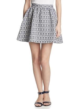 Hutch Women's Flared Skirt (Navy Tile Motif)
