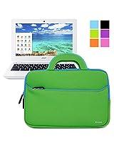 Evecase Acer Chromebook 11 Sleeve, UltraPortable Handle Carrying Portfolio Neoprene Sleeve Case Bag for Acer Chromebook 11 CB3-111-C670/ C740/ C720P / C720 / C710 / C7 11.6-Inch Series Laptop - Green