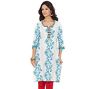 Aaboli Women's Cotton Turq Long Kurta (8907185106867) (X-Small)