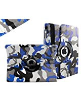 SANOXYš 360 Degrees Rotating Stand PU Leather Case for iPad 2/3/4, iPad 2nd generation (iPad 2/3/4 CAMOUFLAGE ARMY BLUE)