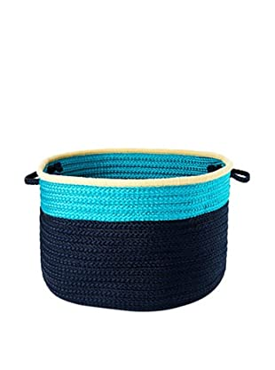 Colonial Mills Color Block Round Basket, (Turquoise Navy)