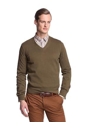 Façonnable Men's V-Neck Sweater (Olive)