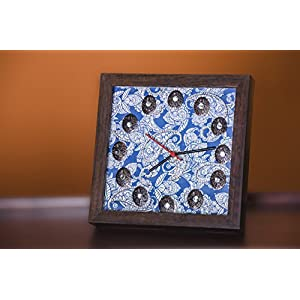 Footprints Forever Blue Paisley Clock