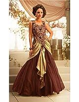 Viva N Diva Brown & Beige Color Satin Georgette, Net Gown.