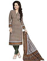 Salwar Studio Brown & Gren & White Cotton Dress Material with Dupatta SHIMAYAA-1214