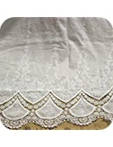Cream-White Two Side Bilateral Embroidery Cotton Lace Fabric Windows,Scarf Cloth DIY Material