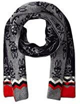 Psycho Bunny Men's Melrose Zig Zag Knitted Scarf, Navy/Grey, One Size