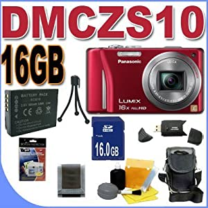 Panasonic Lumix DMC-ZS10 14.1 MP Digital Camera with 16x Wide Angle Optical Image Stabilized Zoom and Built-In GPS Function (Red) Accessory Saver 16GB Bundle