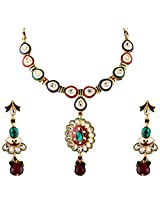 Vivanta Multi-Coloured Gold Plated Necklace And Earrings Set For Women (VD-N114)