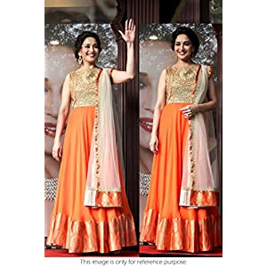 Bollywood Replica Madhuri Dixit Net Suit In Orange and Gold Colour Madhuri