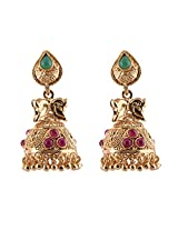 Ganapathy Gems 1 Gram Gold With Pink Stones And Green Stone Jhumki for Women