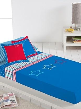 Lief Juego de Sábanas Basic Boy Blue (azul / rojo)