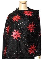 Indian Fashion Guru Black flower design Embroidery stole, shawls
