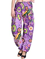 Exotic India Dewberry Printed Casual Trousers - Multi-Coloured