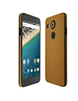 Skinomi® TechSkin - LG Nexus 5X Screen Protector (2015) + Gold Carbon Fiber Full Body Skin / Front & Back Wrap Clear Film / Ultra HD & Anti-Bubble Invisible Shield