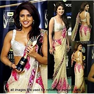 Bollywood Design Beige Priyanka Chopra Saree