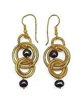 Silver Selection Brass Dangle & Drop Earring For Women (Black)